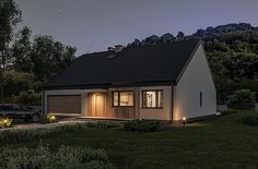 Projekt domu Murator C365j Przejrzysty - wariant X 104,5 m2 - koszt budowy - EXTRADOM Small Modern House Plans, My House Plans, Facade House, Home Fashion, Bungalow, Shed, Cottage, Outdoor Structures, Cabin