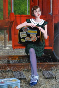 """Small Town"" by Fred Calleri Sculpture Textile, Creation Photo, Romantic Images, Outdoor Art, Whimsical Art, Figurative Art, Contemporary Artists, Just In Case, Fashion Art"