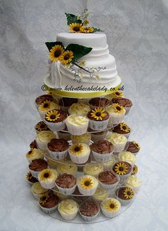 sunflower wedding cupcake tower - with the other cupcakes