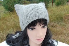 Cat Ears Beanie Knitting Knit Hat Kitty Cat Ear Hat Gray Hat Knitted Beanie Chunky Wool Yarn Winter Ladies Baggy Hat Teen Girls Girl