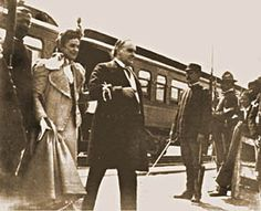 President McKinley and his wife Ida stepping from the train as they arrived at the 1901 Pan-American Exposition. The next day as Mrs. McKinley was at the home of the  president of the Exposition, the President was shot.