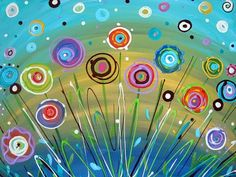 Flower Painting Abstract Circles Aqua Teal Yellow Bright Colors Art Canvas Contemporary 16 x 20 Hello, and thank you for your interest in my Art Floral, Bright Colors Art, Abstract Coloring Pages, Flower Nursery, Abstract Flowers, Painting Flowers, Pablo Picasso, Art Plastique, Painting Inspiration