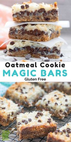 Never before has there been an easier cookie bar. A fun twist on the classic Magic Bar or 7 layer cookie bar, these cookie magic bars use an oatmeal cookie to create the tastiest crust ever, topped with gluten free chocolate and coconut, it's hard to resist just one. Quick and easy prep, these are perfect to throw together for a last minutes treat. #glutenfree #glutenfreerecipes #magicbars #chocolate #coconut #easyrecipes #cookies via @GLUTENFREEMIAMI