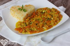 Mrkvové kari so šošovicou a ryža Vegetarian Recipes, Healthy Recipes, Chana Masala, Kids Meals, Good Food, Curry, Veggies, Food And Drink, Cooking