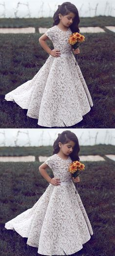 Prom Dresses Beautiful, A-Line Jewel Short Sleeves Sweep Train Ivory Lace Flower Girl Dress, Looking for the perfect prom dress to shine on your big night? Prom Dresses 2020 collection offers a variety of stunning, stylish ball. White Flower Girl Dresses, Lace Flower Girls, Lace Flowers, Beautiful Girl Dresses, Dresses Elegant, Elegant Bridesmaid Dresses, Wedding Dresses, Kids Bridesmaid Dress, Wedding Attire