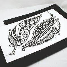It Takes Two . Feather Art . Two Feathers . Pen and Ink Drawing . Original Drawing . Tattoo Art . Small Artwork on Paper. $25.00, via Etsy.