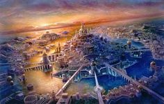 """Mistérios Fantásticos: Uma teoria polêmica é que Atlântida pode ter sido uma grande nave extraterrestre, que ficou conhecida na Bíblia como a ''Ilha Flutuante'' ou """"Ilha Voadora"""", ..."""