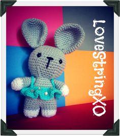 Crochet Bunny Rabbit Amigurumi Plush Doll / Handmade Gift for Valentine / Couples Gift. $30.00, via Etsy.