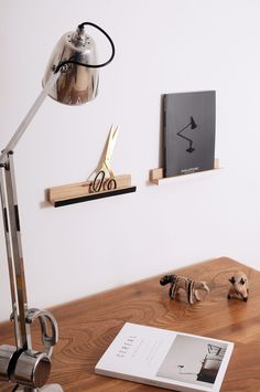 Wooden picture ledges. Wooden Pegs, Wooden Walls, Neutral Colors, Colours, Anglepoise, Wooden Picture, Wall Mounted Shelves, Easy Wall, Sustainable Design