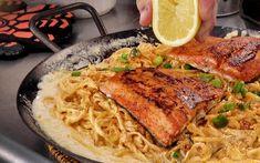 Entree Recipes, Grilling Recipes, Cooking Recipes, Cajun Salmon, Grilled Salmon, Combo Recipe, Salmon Pasta Recipes, Scallop Pasta, Griddle Recipes