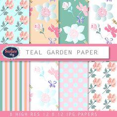 Floral Digital paper TEAL GARDEN Flower digital by SurfaceHug, $3.80