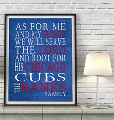 """Chicago Cubs baseball inspired Personalized Customized Art Print- """"As for Me"""" Parody- Unframed Print"""