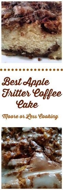 Best Apple Fritter Coffee Cake #SoFabSeasons Moist Apple Coffee Cake filled with layers of cinnamon sugar streusel and apples covered with a light glaze. A wonderful option for breakfast, brunch, snack or dessert.