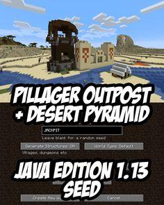 Minecraft Pillager Outpost attached to a Desert Pyramid. Seed:JACKPIT Minecraft Pillager Outpost attached to a Desert Pyramid. Minecraft Cheats, Minecraft Redstone, Minecraft Funny, Minecraft Plans, Amazing Minecraft, Minecraft Videos, Minecraft Survival, Minecraft Blueprints, Minecraft Stuff