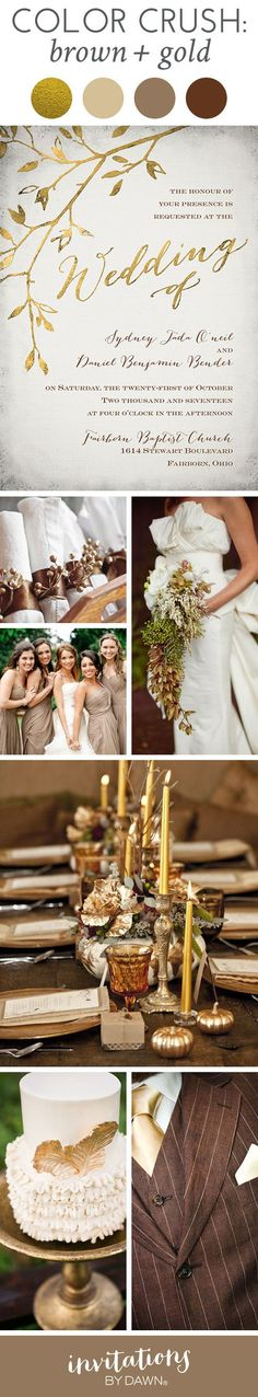 You'll quickly fall in love with this Color Crush from Invitations by Dawn! See why brown and gold is one of our favorite color combos for fall weddings.