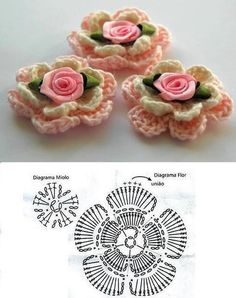 Crochet little roses ♥LCF-MRS♥ with diagrams.
