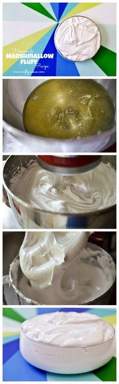 Homemade Marshmallow Fluff recipe. Surprisingly simple! Yum!  This recipe requires no heat.