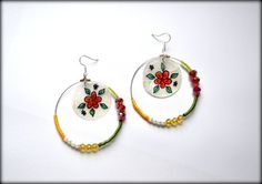 Shell Earrings, Dangle Earrings, Handpainted Earrings, Long Earrings
