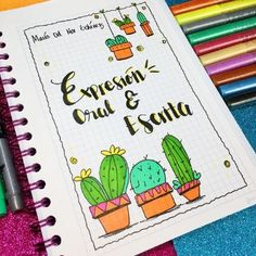creativas caratulas para cuadernos de secundaria Bullet Journal School, Bullet Journal Ideas Pages, Bullet Journal Inspiration, Notebook Art, Notebook Covers, School Notebooks, Cute Notes, Decorate Notebook, School Notes