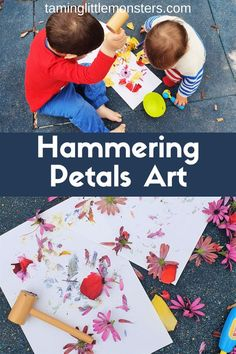 Get outdoors this spring and burn off some of that toddler and preschooler energy. Hammering Flowers Art is a fun and easy process art and gross motor activity for kids. Gross Motor Activities, Indoor Activities For Kids, Outdoor Activities, Writing Prompts For Kids, Kids Writing, Toddler Play, Process Art, Preschool Activities, Preschool Classroom