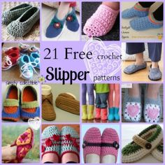 Crochet Slippers: 21 Awesome Free Slipper Patterns compiled by Simply Collectible Crochet Crafts, Crochet Yarn, Free Crochet, Crochet Stitches, Crochet Boots, Crochet Slippers, Crochet Clothes, Felted Slippers, Crochet Slipper Pattern