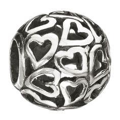 Captured Hearts Bead: Burgeoning love covers the Captured Hearts charm. Scatters of hearts lay side-by-side in swirling romantic energy.