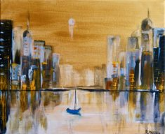 boats bay city life after dark moonlit sky skyscape seascape golden bay docks yachts waterscape acrylic art original by Rine Philbin Acrylic Painting Canvas, Acrylic Art, Gold Skies, Blue Boat, Irish Art, Floating Frame, Hanging Art, Moonlight, Watercolor Art
