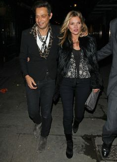 Kate Moss steps out in #London wearing the J BRAND 485 Luxe Sateen Super Skinny in Black. #PerfectPair #InMyJBRAND