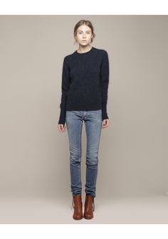 Acne / Flex Marine Jean-   ... this is usually my go to canvas or shall we say, uniform? Mix up the shoes, jewelry and bags and you have a million looks. The key is to find the right jean....worth any amount of searching. Every body looks good in jeans if the fit is right and the style works with the body shape.