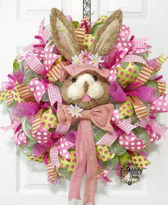 Spring Easter Bunny Rabbit Bonnet Burlap Front Door Deco Mesh Wreath
