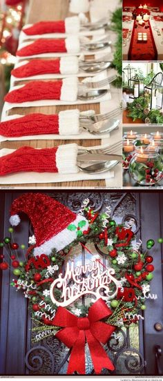Christmas Decorations- silverwear placement for the Holiday Parties. Dollar store has them & sometimes you can find them in a package of so many for a little cost.