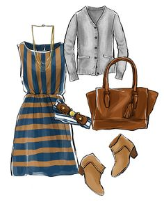 Chiffon dress + cardigan + striped belt + suede booties + Coach Candace carryall + necklace.
