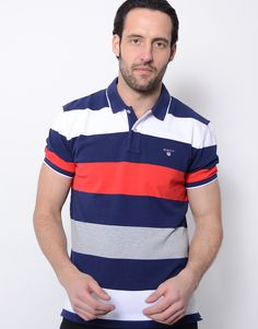 6964c2b0 Gant Blockstripe Pique Rugger Polo Shirt Shadow Blue. Terraces Menswear
