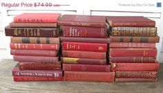 on sale marsala book stack wine colored books by rivertownvintage