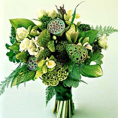 Upscale green bouquet featuring cymbidium orchids, lisianthus, millet, celosia, and lotus pods pinned with Bazaart Love Flowers, Beautiful Flowers, Wedding Flowers, Green Wedding, Peacock Wedding, Lotus Pods, Green Theme, Cymbidium Orchids, White Damask