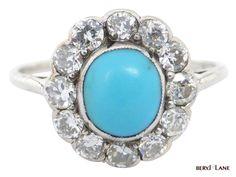 Vintage Original Art Deco Turquoise and Diamond Cluster Ring #Handmade