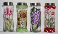 Donna Dewberry One Stroke painted glass containers.