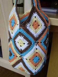 Crocheted bag. Love the colors!