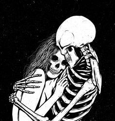 love, art, and skeleton image Gothic Wallpaper, Skull Wallpaper, Sad Drawings, Gothic Drawings, Awesome Drawings, Dark Love, Beautiful Dark Art, Skeleton Art, Skeleton Head Drawing