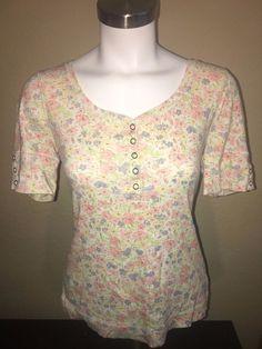 Lauren Jeans Co Ralph Lauren Floral Button Snap Henley Top Size PM Petite M Cute #RalphLauren #Henley
