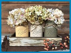 FALL Mason JARS in Wood Antique White Tray Centerpiece with 3 Ball Pint Jar - Kitchen Table Decor - Distressed Rustic - Flowers (Optional) - Painted Jars Orange Mustard Brown Tan Green Yellow - Wedding table decor (*Amazon Partner-Link)