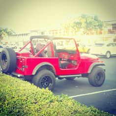 How about this bright red CJ7 Jeep Wrangler? Would you drive it? #jeep #cj7 #wrangler #protecautocare #engineflush #tuneup #friends #style #photorect #photooftheday #follow4follow #all_shots #follow #look #picoftheday #colorful