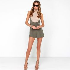 HDY Haoduoyi Solid Color Fashion Romper Women Sleeveless Crew Neck Female Playsuit High Waist Slim Off Backless Shoulder Romper