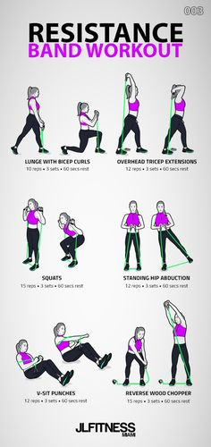 Resistance Band Workout 003 - Fitness Tips Fitness Workouts, Pilates Workout, Fitness Motivation, Workout Routines, Fitness Pal, Cardio Yoga, Planet Fitness, Yoga Workouts, Motivation Quotes