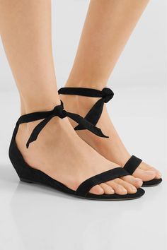 Alexandre Birman - Atena Bow-embellished Suede Wedge Sandals - Black - IT40.5