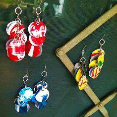 soda can earrings, cascade circles