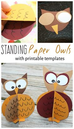 Standing paper owl craft with free printable template. Fall arts and crafts for kids - construction paper