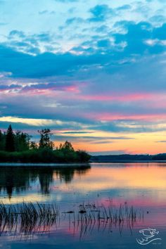 "travelgurus: ""  Beutiful Sunset at Lake Isle, AB, Canada by Drew May   Travel Gurus - Follow for more Nature Photographies! """