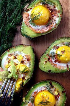 Smoked Salmon Egg Stuffed Avocados & so many other amazing stuffed avocado recipes I Love Food, Good Food, Yummy Food, Avocado Recipes, Healthy Recipes, Avocado Ideas, Healthy Breakfasts, Skinny Recipes, Diet Recipes