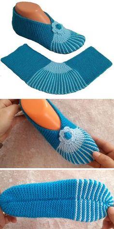 Simple yet beautiful - slippers tutorial (amazing knitting) - knit slippers pattern - mark bl. Knitting Socks, Knitting Stitches, Knitting Patterns Free, Knit Patterns, Free Knitting, Baby Knitting, Free Crochet, Knit Crochet, Crochet Ideas